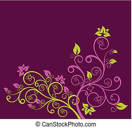 purpur, blomstrede, vektor, grønne, illustration