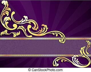 purpur, horisontale, banner, guld
