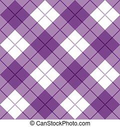 purpur, hvid, plaid, bias