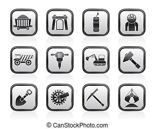 quarrying, mining, industri, iconerne