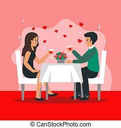 rød, glade, firmanavnet, tabel, s, lejlighed, vektor, baggrund., restaurant, to, illustration, komposition, bogstaverne, mandlig, poster, celebrating., siddende, cartoon, dag, kvindelig, folk, valentine, blomster
