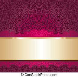 rød, guld, baggrund, invitation