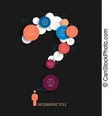 rød, skabelon, mørke, abstrakt, cirkler, spørgsmål, infographic, -, mærke, blå, vektor