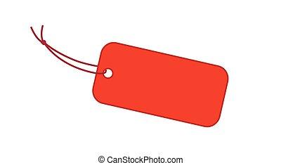 rød, vektor, etikette, illustration