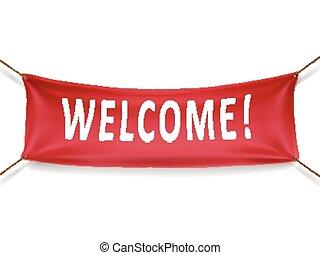rød, velkommen, banner
