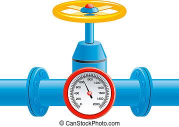 rør, tryk, ventil, gas, meter