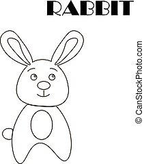 rabbit., children., illustration.outline, coloring, drawing., vektor