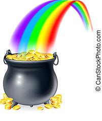 rainb, pot, guld, slutning