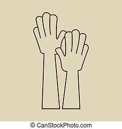raised., hænder, ikon, oppe, tegn