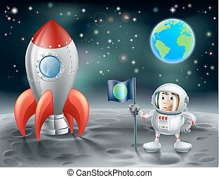 raket, arealet, vinhøst, måne, astronaut, cartoon