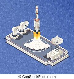 raket, komposition, arealet, isometric