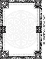 ramme, patte, arabic, geometriske