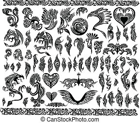 rammer, tatovering, sæt, grænse, drager