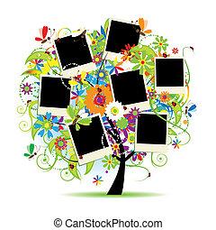 rammer, træ, album., din, blomstrede, familie, photos.