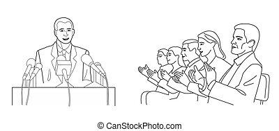 rapport, microphones., stænder, bag efter, isoleret, illustration, baggrund., podium, vektor, taler, public., orator, hvid, gør, sort