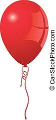 realistiske, balloon, vektor, rød