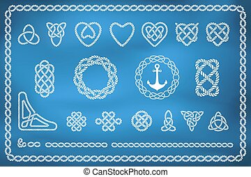 reb, knuder, sæt, nautiske