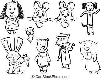 rebbit, mus, cartoon, sæt, -, hund, dyr, doodle, bjørn, kat