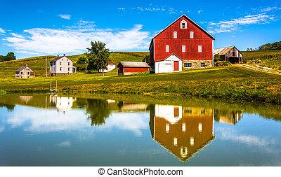 reflektion, hus, pennsylvania., york, grevskab, lille, landlige, dam, lade