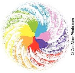 regnbue, abstrakt, blomst, facon, logo