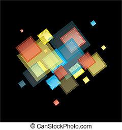 regnbue, abstrakt, firkantet