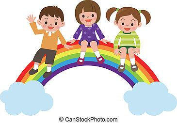 regnbue, børn, his