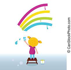 regnbue, kunstner barn, maleri