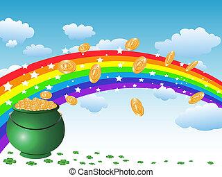 regnbue, pot, mønter, himmel, guld