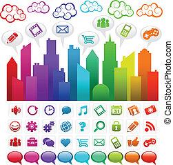 regnbue, sociale, byen, medier