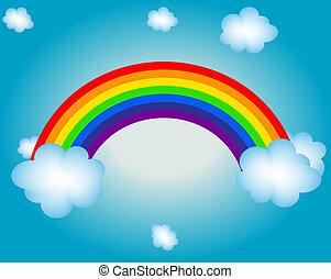 regnbue, sol, illustration, vektor, baggrund, sky