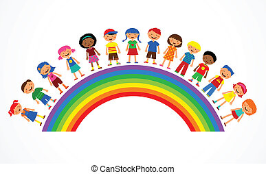regnbue, vektor, børn, illustration, farverig