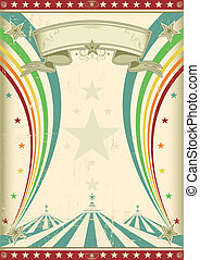 regnbue, vinhøst, cirkus, plakat