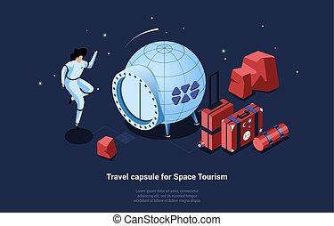 rejse, arealet, firmanavnet, køretøj, turisme, kapsel, rejse, komposition, begrebsmæssig, cartoon, bagage, vektor, illustration, 3, glade, tøjsæt, spaceship, isometric, astronaut, writings.