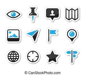 rejse, kort, sæt, lokaliseringen, ikon