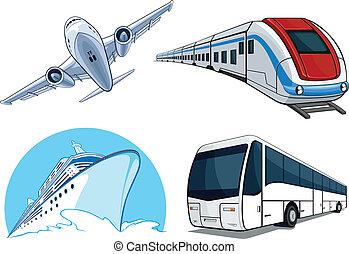 rejse, transport, airplan, -, sæt