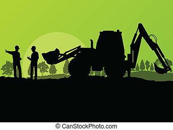 rejst, grave, gravemaskine, arbejdere, spand, site, lader, vektor, baggrund, konstruktion