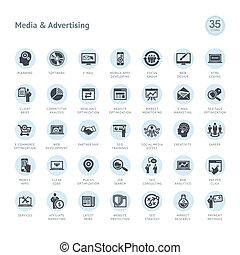 reklame, medier, iconerne, sæt