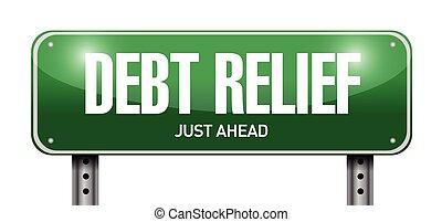 relied, tegn, gæld, vej, illustration