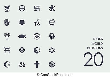 religioner, sæt, verden, iconerne