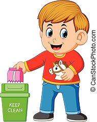 rense, trush, miljø, beholde, dreng, rubbish bin