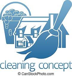 rensning, begreb, hus
