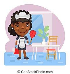 rensning, cartoon, tjenestepige