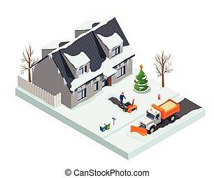 rensning, isometric, sne, komposition
