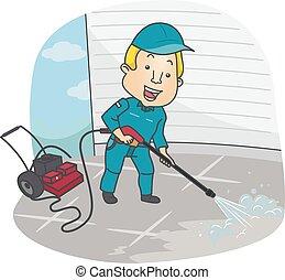 rensning, mand, washer, tryk