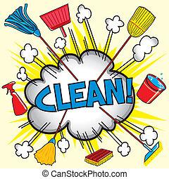 rensning, sky