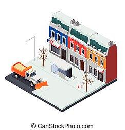 rensning, sne, gade, komposition