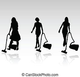 rensning, vektor, tre kvinder