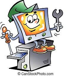 reparer, computer, mascot