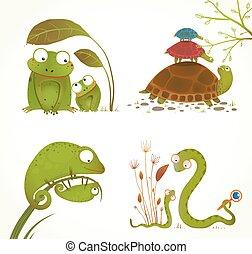 reptil, dyr, forældre, samling, baby, cartoon