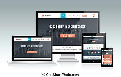 responsive, website, konstruktion